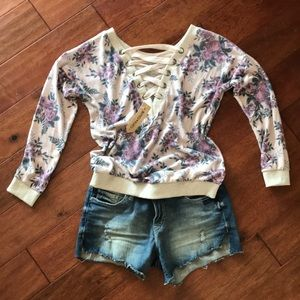 Light knit floral sweater